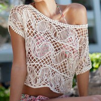 Sexy Women's Scoop Neck Short Sleeve Openwork Smock