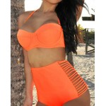 Sexy Women's Solid Color Halter Hollow Out Two-Piece Swimwear