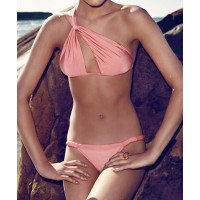 Sexy Women's Solid Color Hollow Out One-Shoulder Bikini Set