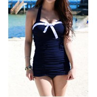 Slimming Color Block Halter Neck Bow Tie Embellished One Piece Swimsuit For Women