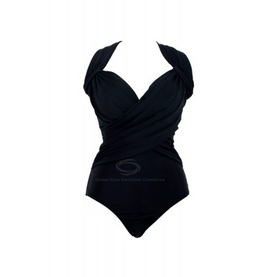Spandex V-Neck Solid Color Bikini Swimming Suit For Women