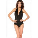 Strappy Bow Tie One-Piece Nylon Solid Color Swimwear For Women