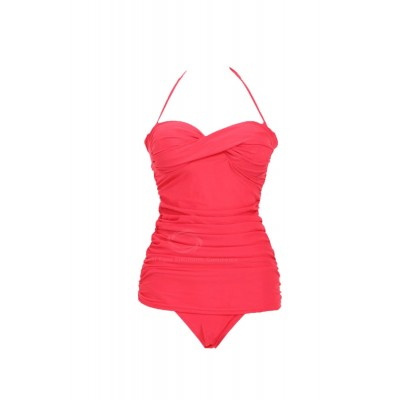 Stunning Halter Solid Color Wrapped Design One-Piece Bikini Dacron Swimming Wear For Women