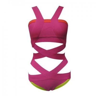 Stylish Bandage Spaghetti Strap Low Cut Solid Color Stretchy Swimwear For Women