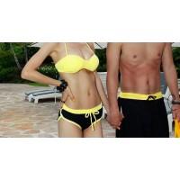 Stylish Halter Neck Color Splicing Drawstring Bikini Swimsuit For Women