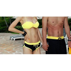 Stylish Halter Neck Color Splicing Drawstring Bikini Swimsuit For Women