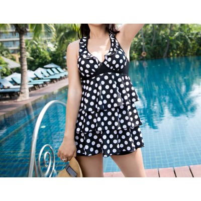Sweet Halter Ruched Polka Dot Multi-Layered Flouncing Backless Swimsuit