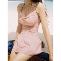 Sweet Halterneck Ruffled Narrow Waist Swimwear For Women