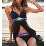 Tempting Halterneck Print Cut Out Polyester Swimwear For Women