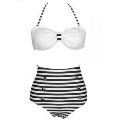 Vintage Halterneck Cross Stripe Six Buttons Swimsuit For Women