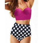 Vintage Halterneck Polka Dot Print Lace Up Bikini Swimsuit For Women