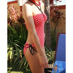 Vintage Halterneck Polka Dot Print Lace Up One Piece Swimsuit For Women