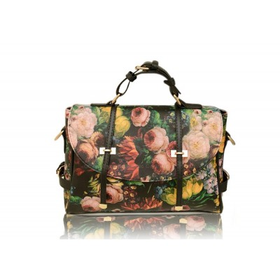 British Style Vintage Casual Women's Tote Bag With Floral Print Buckle and Oil Painting Design