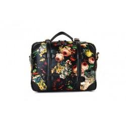 British Style Vintage Women's Shoulder Bag With Oil Printing and Floral Print Design