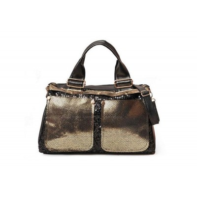 Casual Stylish Women's Tote Bag With Color Block and Sparkling Glitter Design