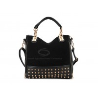 Casual Women's Korean Black Handbag With Tote and Rivets Chain Design