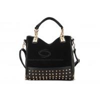 Casual Women's Korean Black Handbag With Tote and Rivets Chain Design