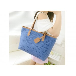 Casual Women's Shoulder Bag With Blue and PU Leather Design