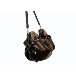 Casual Women's Tote With Vintage Tassels and Imitated Fur Design