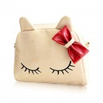 Cute Women's Crossbody Bag With Bowknot and Kitten Pattern Design