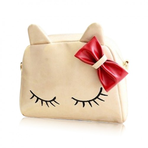 Cute Women s Crossbody Bag With Bowknot and Kitten Pattern Design ...