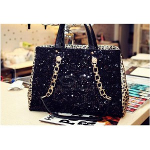 Elegant Stylish Casual Women's Tote Bag With Sequins and Metal Chain Design