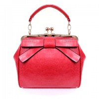 Elegant Women's Tote Bag With Bow and Kiss-Lock Design