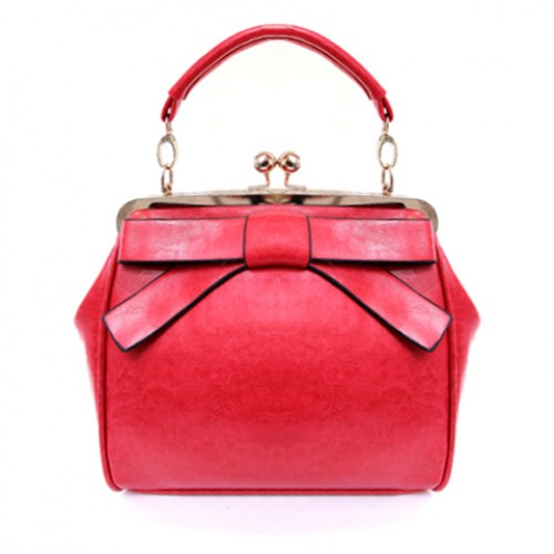 Elegant Women S Tote Bag With Bow And Kiss Lock Design