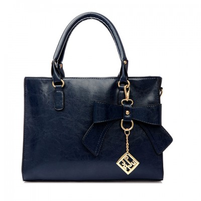 Elegant Women's Tote Bag With Bow and Metal Pendant Design