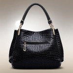 Elegant Women's Tote Bag With Crocodile Print and Solid Color Design