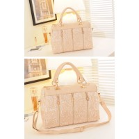 Elegant Women's Tote Bag With Solid Color Lace and Zipper Design
