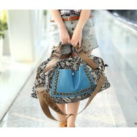 Ethnic Style Women's Tote Bag With Rivets and Splice Design