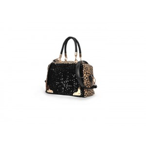 Fashion Style Women's Tote Bag With Sequins and Leopard Print Design