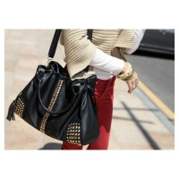 Fashion Women's HandBag With Rivets and Tassels Design