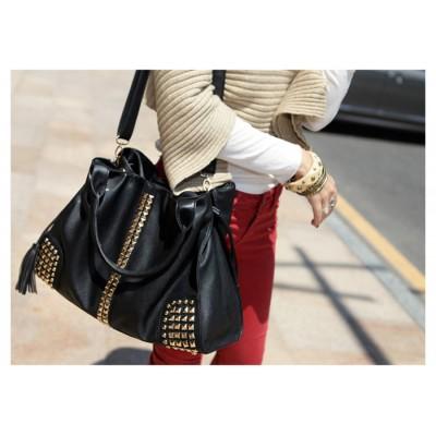 Fashion Women's HandBag With Rivets and Tassels Design