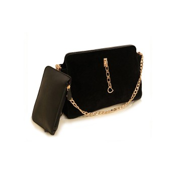 Fashion Women's Shoulder Bag With Chain and Suede Design