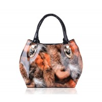 Fashion Women's Tote Bag With Animal Print and Patent Leather Design