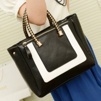 Fashion Women's Tote Bag With Color Block and Weaving Design
