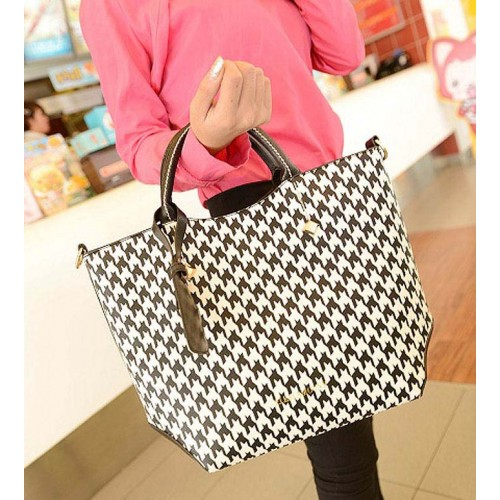 Fashion Women S Tote Bag With Houndstooth And Rivets Design