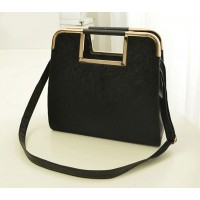 Fashion Women's Tote Bag With Solid Color and Metal Design