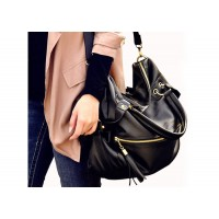 Fashion Women's Tote Bag With Tassels and Rivets Design