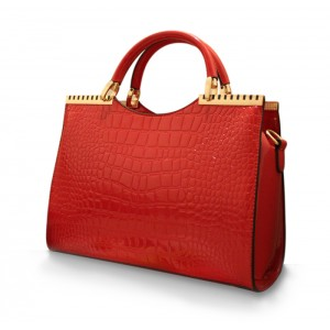 Fashionable Women's Tote Bag With Crocodile Print and Solid Color Design
