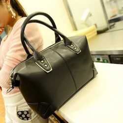 Korean Style Women's Tote Bag With Solid Color and Rivets Design