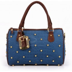 Laconic Fashion Women's Handbag With Color Matching Rivets Pendant Zipper Design
