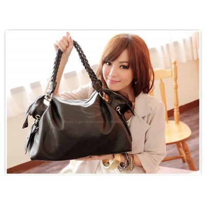 Laconic Stylish Casual Women's Tote Bag With Solid Color Metal and Weaving Design