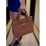 Office Women's Handbag With Metallic and Solid Color Design