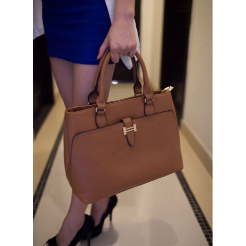 Office Women S Handbag With Metallic And Solid Color Design