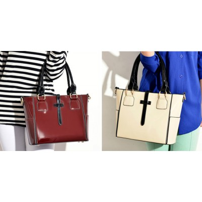 Office Women's Tote Bag With Color Matching and Patent Leather Design