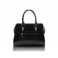 Office Women's Tote Bag With Crocodile Print and Patent Leather Design