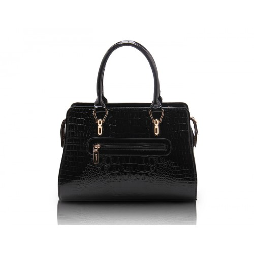 Office Women S Tote Bag With Crocodile Print And Patent Leather Design